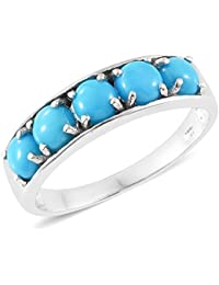 Sleeping Beauty Turquoise 5 Stone Band Ring in Platinum Overlay Sterling Silver 2.5 Ct