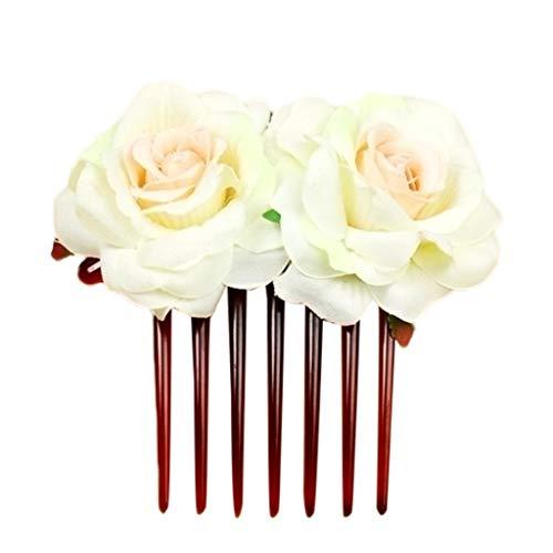 QIUMINGSS Damen Brautkop Fschmuck Crown Prinzessin Süß Elegant Luxus Hochzeits Geburtstag Zusatz Einfache Blumen Haar Kamm Hochzeits Zusatz Rote Rosen Haarnadel Haar Schmuck