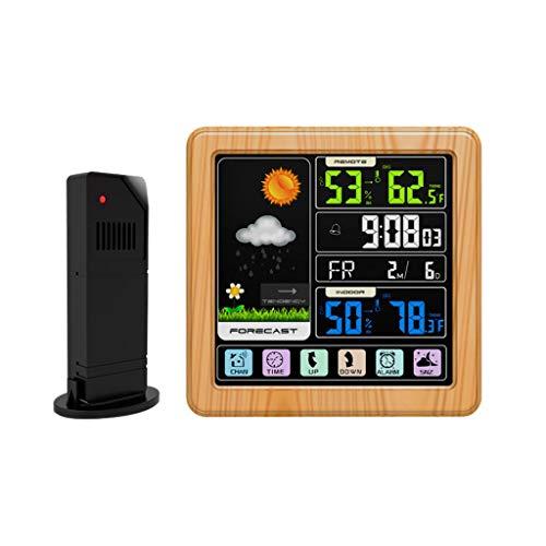 ToDIDAF TS-3310 Vollfarb-LCD-Funk-Wetteruhr, Multifunktionale Wetterstation, Thermometer/Barometer/Luftfeuchtigkeitsmonitor, Innen und Außen - Hölzerner Musterrahmen