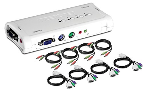 Ps2-maus-tastatur-monitor-kabel (TRENDnet 4-Port PS2 KVM Switch mit Audiofunktion, TK-408K)