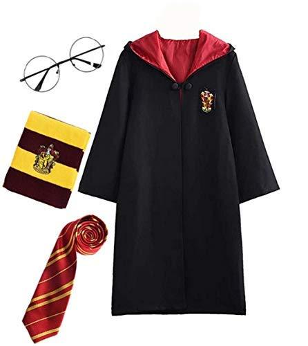 Fanessy. Harry Potter Kinder Erwachsene Kostüm Umhang Fancy Dress Cosplay Outfit Set Zauberstab Krawatte Schal Brille Brillengestell Hut Hemd Rock Karneval Verkleidung Fasching Halloween 105-185