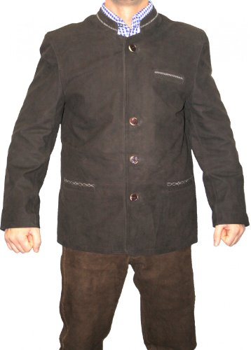 Trachtenjacke trachten lederjacke jacke Janker aus Ziegenleder braun, Größe:58