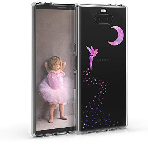 kwmobile Sony Xperia 10 Plus Hülle - Handyhülle für Sony Xperia 10 Plus - Handy Case in Fee Design Pink Violett Transparent
