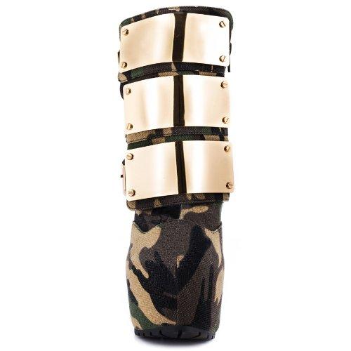 Onlymaker Damenschuhe High Heels ohne Verschluss Zip Boots Mehrfarbig