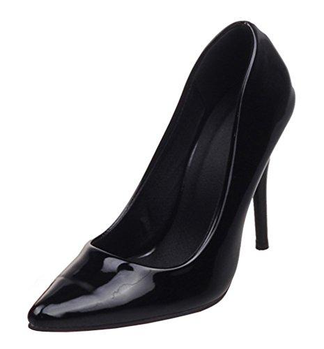 YE Damen High Heels Spitze Stilettos Lackleder Pumps mit Roter Sohle 10cm Absatz Kleid Schuhe Schwarz