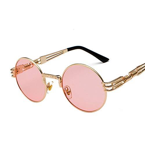 mpunk Sonnenbrille Round Frame Trend Damen Sonnenbrille Herren Travel Street Schnapsgläser, Anti-UV, Reduzieren Augenreizungen,Pink ()
