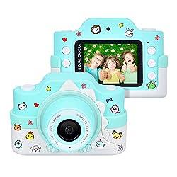 """Funkprofi Kinderkamera WiFi 2 Objektive 24 MP HD 2.0"""" IPS-Bildschirm mit Aufklebern und Cartoon Schutzhülle Digitalkamera für Kinder als Geschenk (Blau)"""