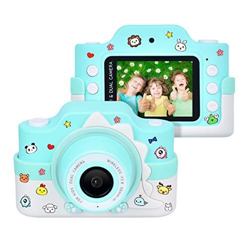 """Funkprofi Kinderkamera WiFi 2 Objektive 24 MP HD 2.0\"""" IPS-Bildschirm mit Aufklebern und Cartoon Schutzhülle Digitalkamera für Kinder als Geschenk (Blau)"""