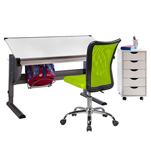 FineBuy Kinderschreibtisch mit Stuhl und Rollcontainer Kinderzimmer-Büro   Schülerschreibtisch Holz   Kinder-Schreibtischstuhl Teppichbodenrollen   Rollcontainer mit 5 Schubladen   Komplettsett