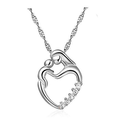 Qiuday Kette Damen Silber Finish Mom Baby Halskette Muttertagsgeschenk Unendlichkeit aus Weißgold vergoldet Rundschliff Zirkonia Liebe Anhänger Herz Frauen Schmuck zum Damen