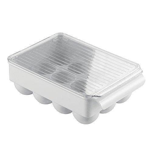 InterDesign Fridge/Freeze Binz Eierhalter mit Deckel | Eierbox für 12 Eier | stapelbarer Eierbehälter mit Griff | Kunststoff hellgrau (Eierkartons Für Kinder)
