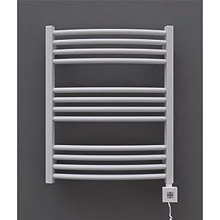 Bathroom radiator electric 634h x 600b white curved 325 Watt-with Cartridge KTX 2 and Befuellung