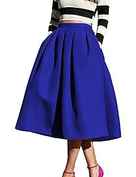 Yonglan Mujeres Color Solido Vintage Falda Plisada A-Line Con Bolsillos Faldas Larga Azul marino M