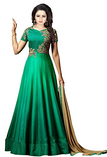 MRS WOMEN Taffeta Silk Embroidered Semi-Stitched Anarkali Gown (Green) (Free Size, green)