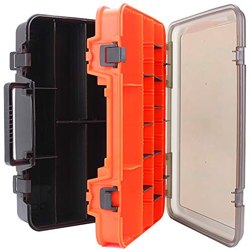 ZLZL Utility Tool Box Organizer Fall Mit Verstellbaren TrennwäNden Angeln Werkzeugkasten ZubehöR FischköDer Aufbewahrungsbox Multifunktions Tragbare Angelbox Doppelseitige Verdickung Box -