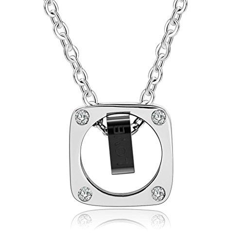 Bishiling Edelstahl Halskette für Herren Doppelt Reckteck Zirkonia mit Gravur mit Anhänger Kette Silber Schwarz (Billig Puppe Kopf)