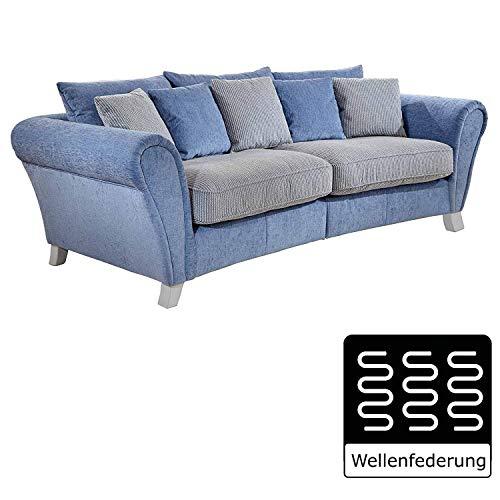 Cavadore 514 Big Sofa Calianne / Große Couch inkl. Kissen im modernen Design mit weißen Holzfüßen / Größe: 257 x 87 x 120 cm (B x H x T) / Materialmix blau - weiß (Big Sofa)