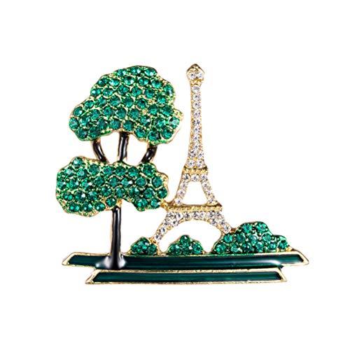 Fenical Frauen Legierung Brosche Eiffelturm Baum Metall Brosche Corsage Schmuck Revers Abzeichen Für Tuch Kleid Hut Schmuck Dekor (Grün) Chic Saree