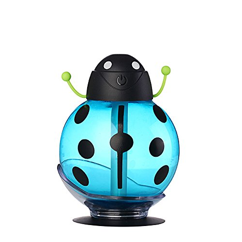 Zmsdt Mini Portable Ultrasonic Mute Creativo 260 ML USB Lindo Beatles Humidificador Purificador De Aire Atomizador De Aceite Esencial Difusor Fresco Humidificador De Niebla (Color : Blue)