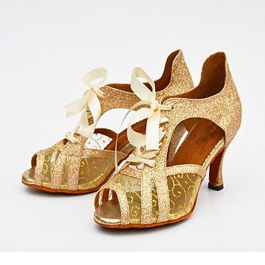 XIAMUO Anpassbare Damen Tanz Schuhe aus Leder Leder Spitze funkelnden Glitter Lace funkelnden Glitter Latin Fersen angepasste HeelPractice Silber