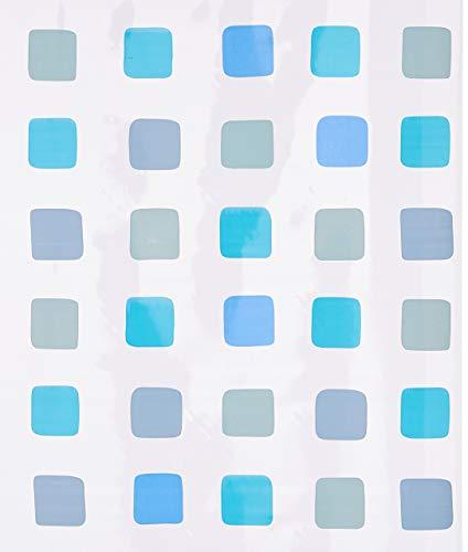 Duschrollo für Kleine Wolke-Leerkassette, 128 x 240 cm, Quadrat-Muster blau thumbnail