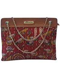 Bhamini Ikkat Kalamkari Block Print Stylish Handbag with Golden Chain Sling e6a76a14c3b0d
