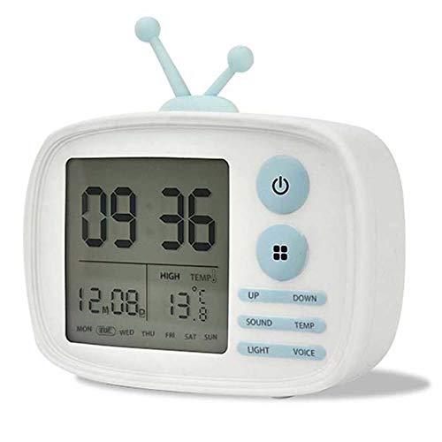 RURY WeckerKreative Tv-förmige Wecker Angetriebene Digitale Desktop-Thermometer USB-Lade-und Sprachübertragungsfunktion Desktop-digital-tv