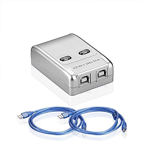 Sienoc 2 Port USB 2.0 Sharing Switch für Drucker Scanner+Stecker Typ A auf Typ B Kabel
