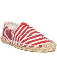 Abof Women Red & White Espadrilles - B071YV7SJ1