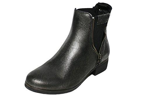 REPLAY Annie Damen Chelsea Boots Stiefel Stiefeletten Silber Leder Silber