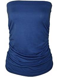 WearAll - Uni bustier bandeau top ruché sans bretelles - Hauts - Femmes - Tailles 36 à 42