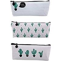 NUOLUX 3pcs Cactus Impreso Lápiz Lápiz Bolsa De Pluma Bolso De Maquillaje Bolsa ...
