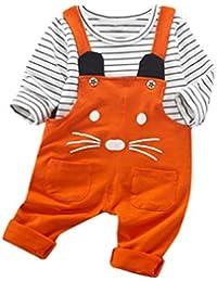 Winwintom La camiseta de la impresión de la historieta de los equipos de los muchachos del niño del bebé del niño de la manera + la correa jadea la ropa de los cabritos
