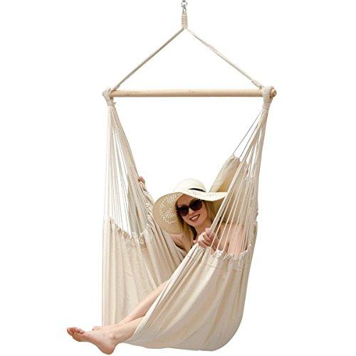 AMANKA XXL Silla Colgante para sentarse 2 personas hamaca 185x130cm 150Kg sillón para mecerse columpio 100% algodón incl pivote giratorio 360° Marfil