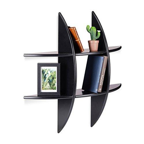 Relaxdays rundes Wandregal mit 6 Fächern, 17cm tief, Hängeregal, Deko, CD-Regal, Schweberegal, schwarz
