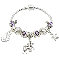 Jewellery Hut Unicorn and Fairies Charm Bracelet For Girls with Gift Box - Girls Unicorn Jewellery