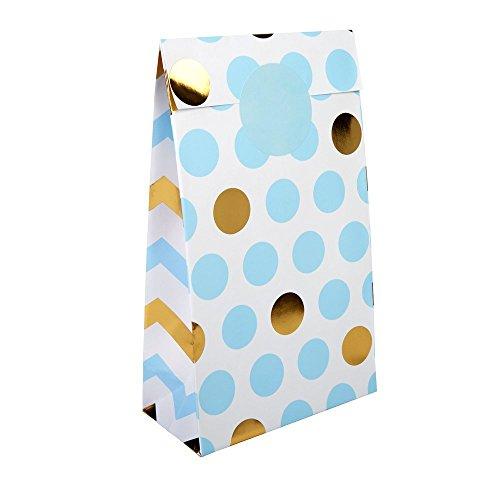 tüten / Tüten Candybar in Blau & Gold inklusive Stickern zum Zukleben der Tüten für Ihre Candy-Bar oder Süßigkeitenecke / 5 Tüten + 6 Sticker pro Packung ()