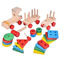 1Set Wooden Stacking Toys Train Shape Sorter Stacking Blocks Toddlers Puzzle Toys Pull Toys for Toddlers Preschool Educational Toys