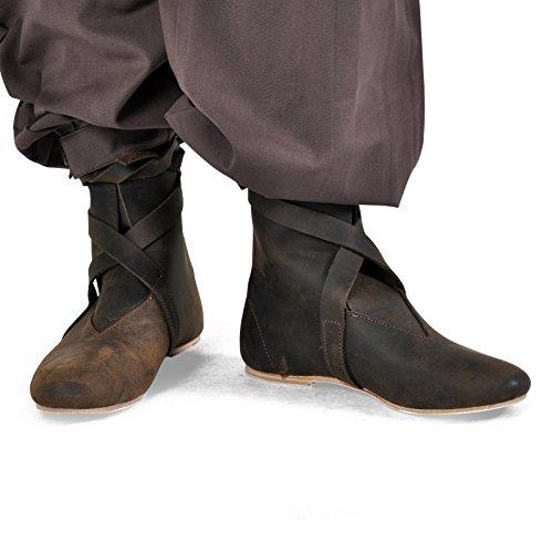 Chaussures Moyen-Âge - Bottes mi-hautes à bandelettes - pour homme - Made in Germany - Marron Marron