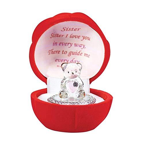 Oso de cristal en caja de rosa roja para un regalo especial para hermana, cumpleaños, Navidad, cualquier ocasión