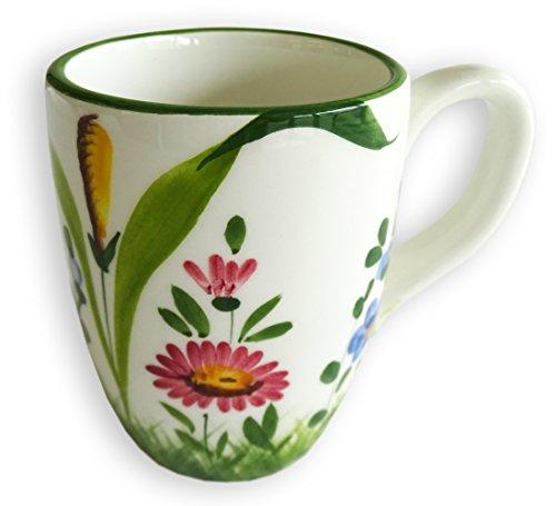 Handgemachte Große Kaffeetasse, Jumbo Tasse im Blumenwiese Design aus Italienischer Keramik, Tasse XXL 400 ml