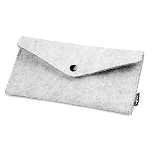 Laine de feutre simple stylo cosmétique stylo sac affaire (19.5 * 9 CM, gris clair)