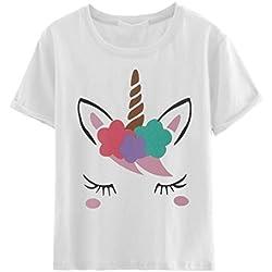Fgfghbfhrger Camiseta de Manga Corta de algodón Unicornio con Estampado de Dibujos Animados para Mujer Camiseta de Manga Corta de algodón Casual Tops (Color : Blanco, Size : S)