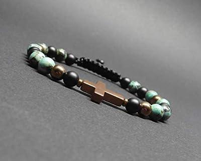 Bracelet homme pierres naturelles, turquoise africaine, onyx mat et croix hématite cuivrée