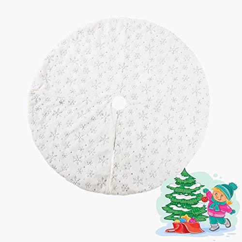 Aokako WeiB Weihnachtenbaum Rock, Weihnachtsbaum Rock Samt Ausgestattet Mit Goldene Schneeflocke Pailletten Weihnachten Baum Rock Urlaub Ornamente Dekoration Für,Silber,140cm -