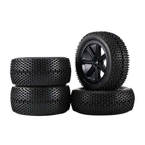 2 paia 85mm cerchioni e pneumatici in gomma per 1:10 Off-Road RC Auto Buggy pneumatici ricambi accessori - nero