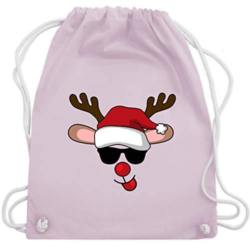 Weihnachten & Silvester - cooles Rentier mit Sonnenbrille - Unisize - Pastell Rosa - WM110 - Turnbeutel und Stoffbeutel aus Bio-Baumwolle