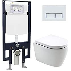 WC suspendu offre spéciale pack économique 20: B-8030 - bâti-support G3008 avec plaque de déclenchement à choix, Plaque de déclenchement:Modèle 4112 blanc mat