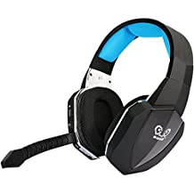 HUHD PS4 Auriculares Gaming Headset 2,4 GHz  Auriculares Inalámbrico Gaming Headset Para  PS4 PC Xbox 360 Xbox one PS3 con Micrófono Desmontable Audio Digital USB 2.0 Batería Recargable (Azul)