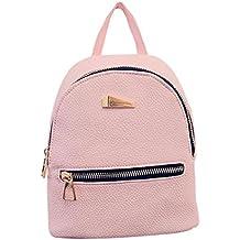 mochilas mujer Sannysis mujeres Bolsos de cuero con Cremallera (rosa)